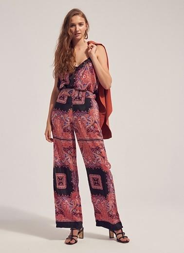 Monamoda Beli Lastikli Desenli Bol Kimono Pantolon Oranj